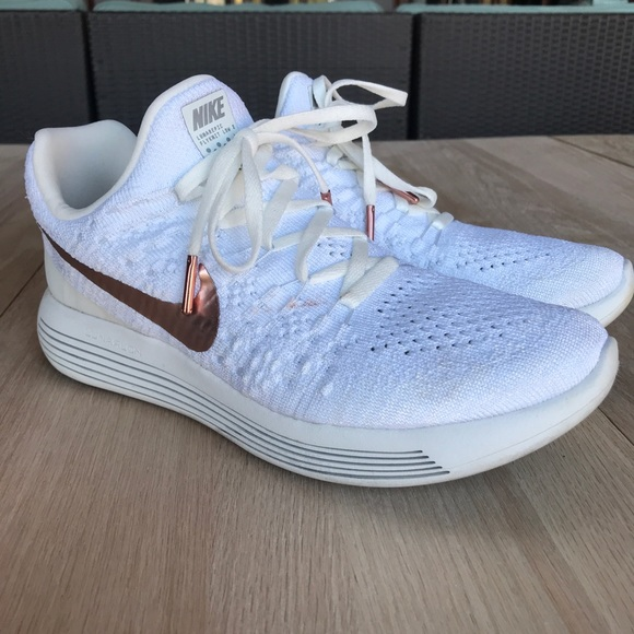Nike Lunar Epic rose gold flyknit running shoes